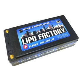 Lipo Factory LF4023  4300mah 2s 7.4v Lipo 60C Shorty Pack with 5mm Bullets