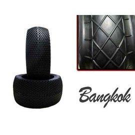 Hot Race Tyres 1/8th Bangkok Soft Pre-Mount on White Rims