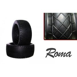 Hot Race Tyres 1/8th Roma Soft Pre-Mount on White Rims