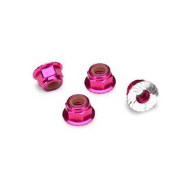Traxxas 4mm Pink Aluminum Flanged Locking Serrated Nuts (4)