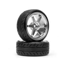 HPI Mounted Super Drift Tire (A Type) TE37 Chrome Wheels (2)