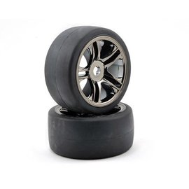 Traxxas S1 Slick Rear Tires on Split-spoke Black Chrome Wheels XO-1 (2)