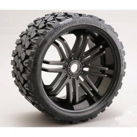 SWEEP Terrain Crusher Offroad Belted Tire on Black Wheels 17mm Hex E-REVO (2)