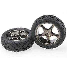 """Traxxas Anaconda Tires on Tracer 2.2"""" Black Chrome Wheels Front (2)"""