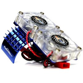 Michaels RC Hobbies Products Blue Aluminum Motor Heatsink & Twin Cooling Fan