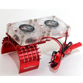 Red Aluminum Motor Heatsink & Twin Cooling Fan