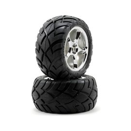 Traxxas 2.2 Anconda Tires W/Tracer Chrome Wheels Bandit Rear (2)