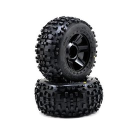 "Proline Racing Badlands 3.8"" Tire Mounted on Desperado Black Wheels"
