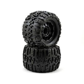 "Proline Racing Trencher X 3.8"" All Terrain Tires Mounted on Black F-11 1/2"" Offset 17mm Wheels"