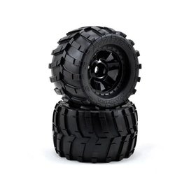 "Proline Racing Masher 3.8"" Tires Mounted on Black 1/2"" Offset 17mm Wheels (2)"