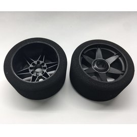 Hot Race Tyres 1/8th Tires 37 Shore Front on Black Rims