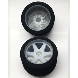 Hot Race Tyres 1/8th Tires 37 Shore Front on White Rims