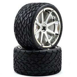 HPI Phaltline Tire Mounted on Chrome Split 8-Spoke Wheels