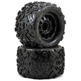 """Proline Racing Big Joe II 3.8"""" All Terrain Tire Mounted on F-11 Black 1/2"""" Offset 17mm Wheels (2) Front/Rear"""