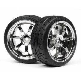 HPI HPI4738 T-Grip Tire, 26mm, Mounted on Rays 57S-Pro Wheels, Chrome