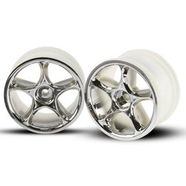 """Traxxas 2.2"""" Chrome Bandit Rear Tracer Buggy Wheels (2) Pins"""