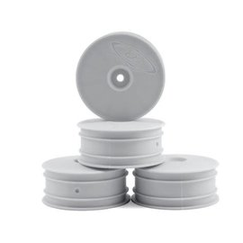 DE Racing DERSB4L4W Speedline Buggy Wheels, White, Front, for Losi 22-4 and Tekno EB410 (4pcs)