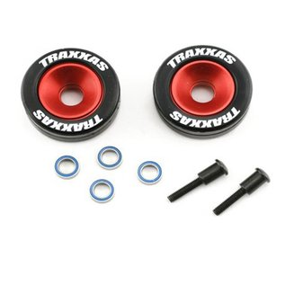 Traxxas TRA5186 Wheels, aluminum (red-anodized) (2)/ 5x8mm ball bearings (4)/ axles (2)/ rubber tires (2)