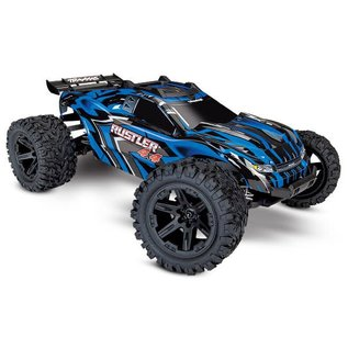 Traxxas TRA67064-1 BLUE Rustler 4X4: 1/10-scale 4WD Stadium Truck w/ Battery & Charger