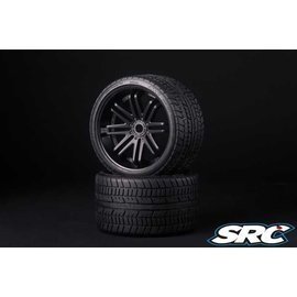 SWEEP C0001B Monster Truck Road Crusher Belted tire preglued on Black wheel 2pc Set