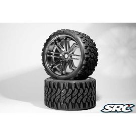 SWEEP C0002S Monster Truck Terrain Crusher Belted tire preglued on SILVER wheel 2pc Set