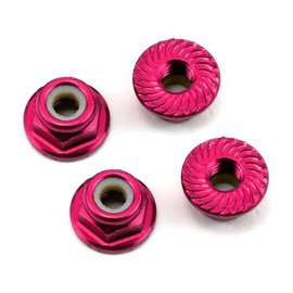 175RC 175-11048 Aluminum 4mm Serrated Locknuts (Pink)