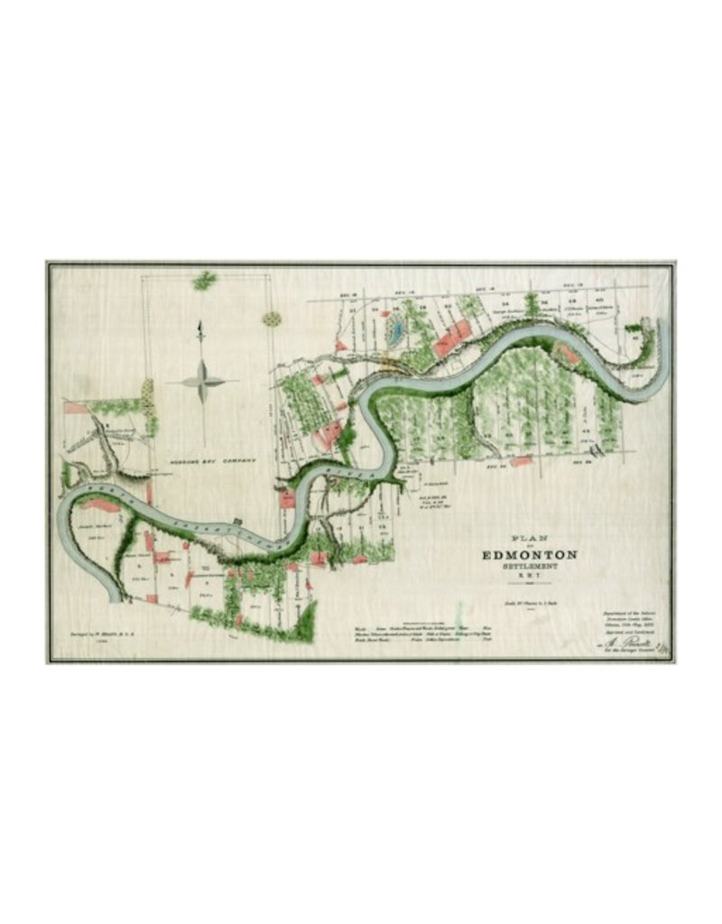Vivid Archives Plan of Edmonton 1883 Map Plaquemount
