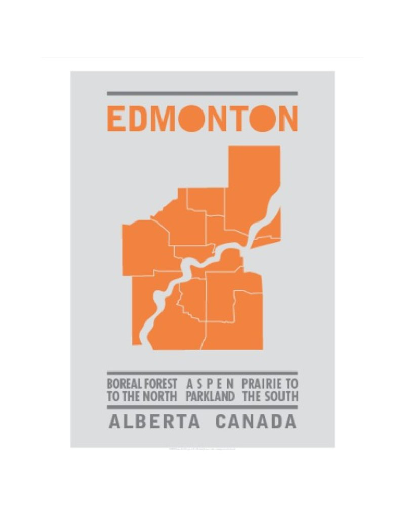 Vivid Print Bee Waeland | Edmonton Map Orange