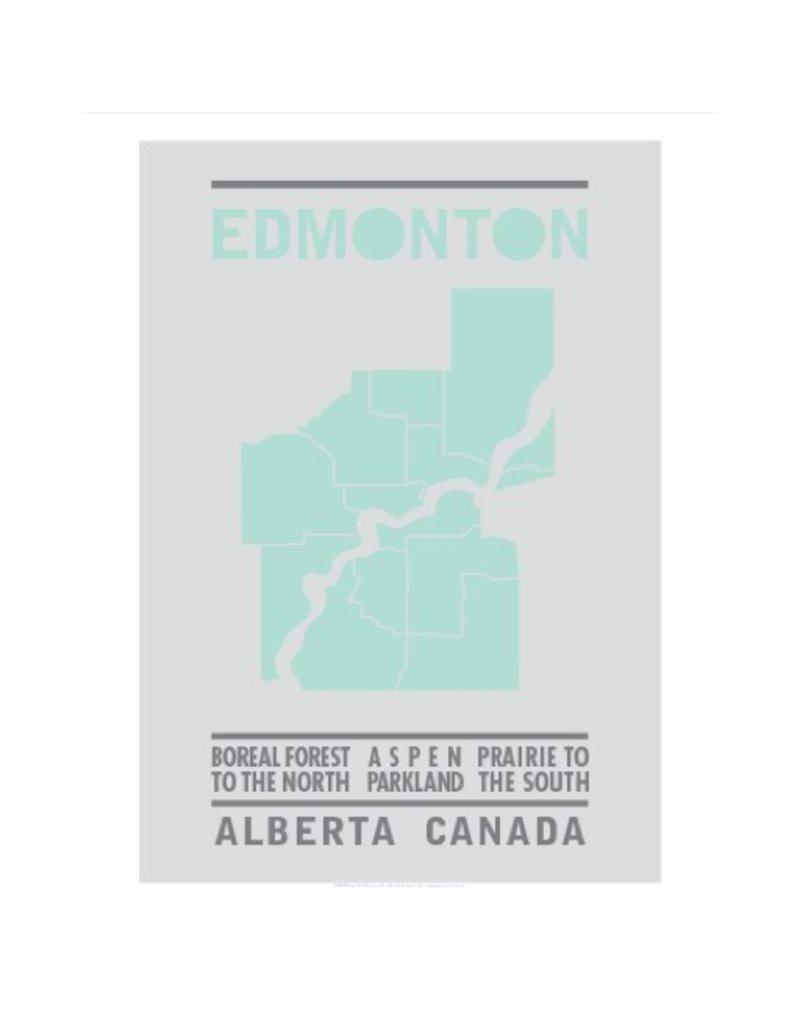 Vivid Print Bee Waeland   Edmonton Map Green
