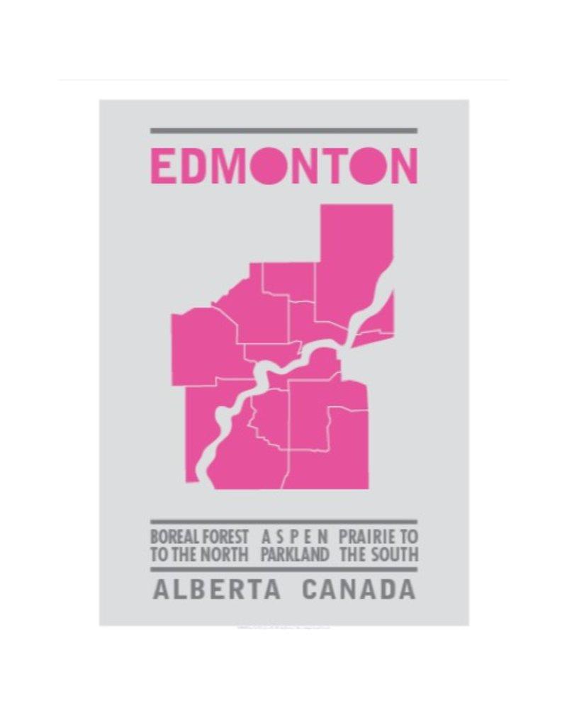 Vivid Print Bee Waeland | Edmonton Map Pink