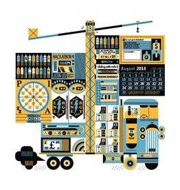 "Vivid Print Raymond Biesinger | Hackathon 17"" Square Digital Print"