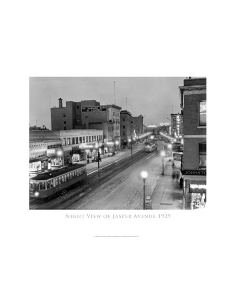 Vivid Archives Night View of Jasper Avenue Poster