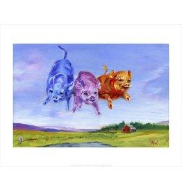 Vivid Print Ann Waeland | Coloured Pigs<br /> Print