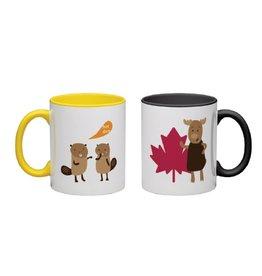 Vivid Print Bee Waeland   Moose + Beaver Mug Set