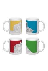 Vivid Print Bee Waeland   Edmonton Architecture Series Set Of Four Mugs