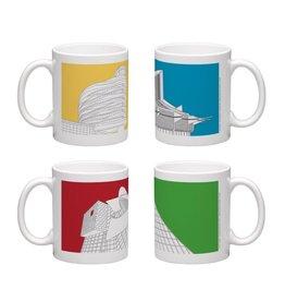 Vivid Print Bee Waeland | Edmonton Architecture Series Set Of Four Mugs