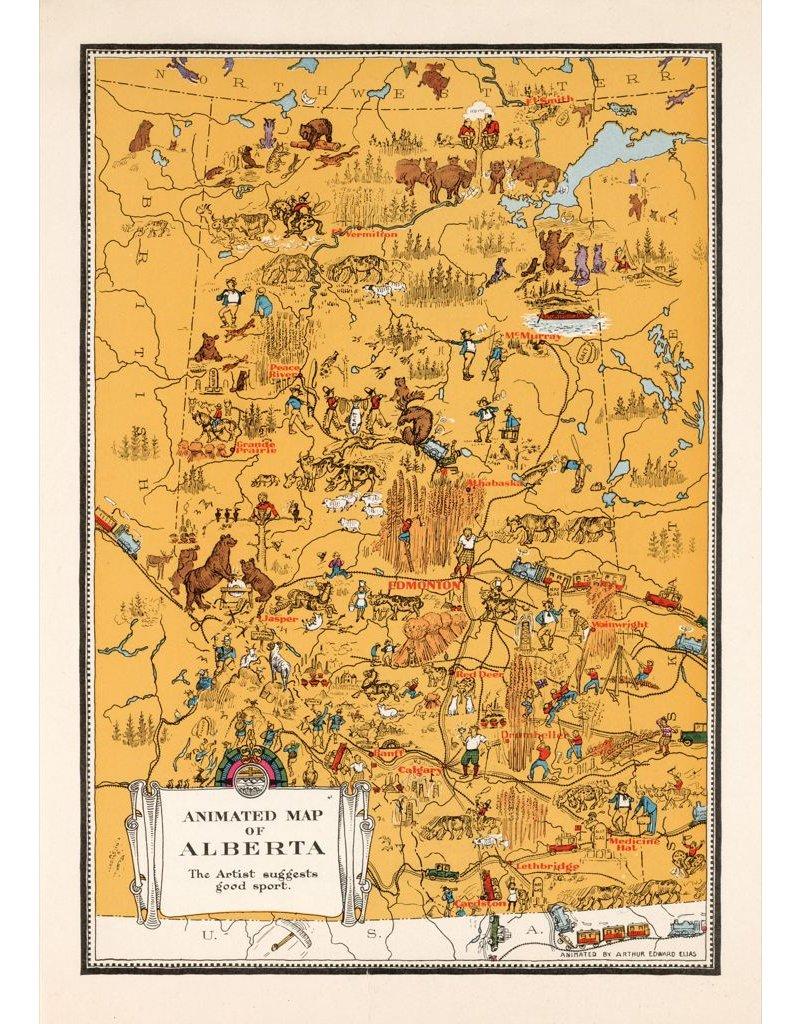 Vivid Print Animated Map of Alberta, 1929