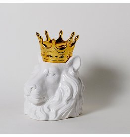 Imm Crowned Heads Lion Ceramic Canister