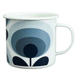 Wild & Wolfe Enamel Mug 70s Flower Oval Slate 500ml