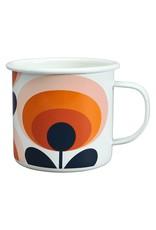 Wild & Wolfe Enamel Mug 70s Flower Oval Persimmon 500ml