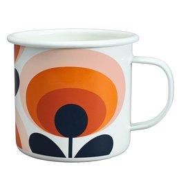 Enamel Mug 70s Flower Oval Persimmon 500ml