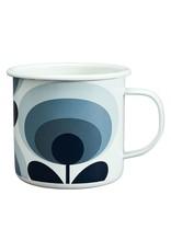 Enamel Mug 70s Flower Oval Slate 500ml