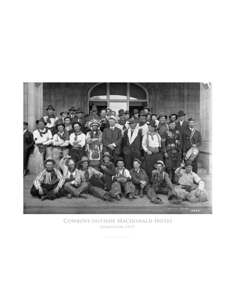 Cowboys Outside Macdonald Hotel Poster