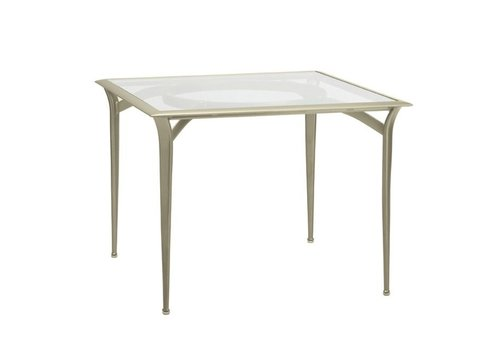 BROWN JORDAN FLIGHT SQUARE BISTRO DINING TABLE WITH GLASS TOP