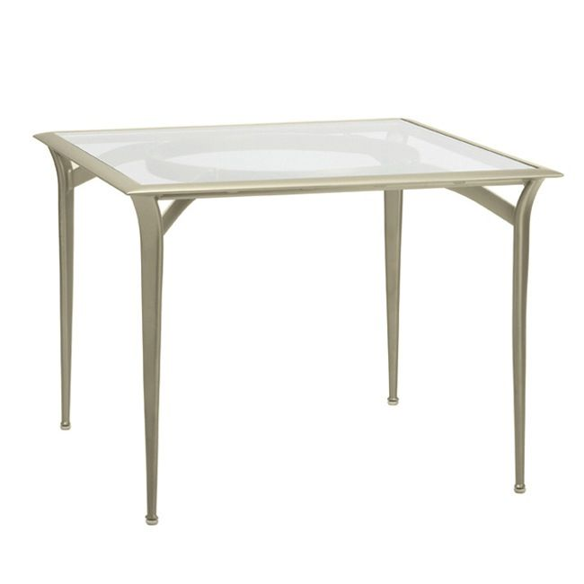 BROWN JORDAN FLIGHT 36 x 36 BISTRO DINING TABLE, GLASS OR PERFORATED TOP