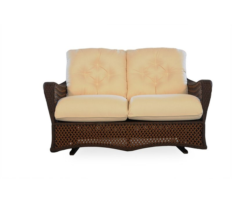 GRAND TRAVERSE LOVE SEAT GLIDER WITH GRADE A CUSHIONS/SELF WELT