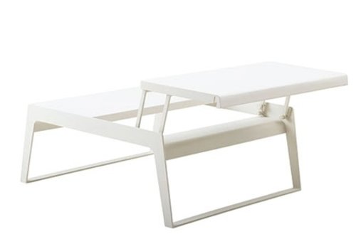 CANE-LINE CHILL-OUT COFFEE TABLE-DUAL HEIGHT-WHITE