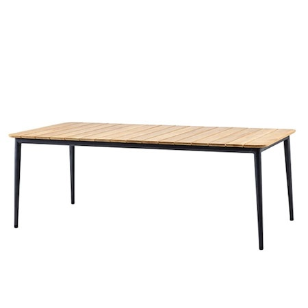 CANE-LINE CORE DINING TABLE - TAUPE ALUMINUM FRAME/ TEAK TOP