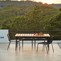 CORE DINING TABLE - TAUPE ALUMINUM FRAME/ TEAK TOP