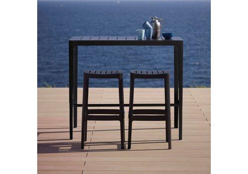 CANE-LINE CUT BAR TABLE IN BLACK ALUMINUM